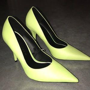 ZARA Neon Lime Yellow Pointed Toe Stiletto Heels